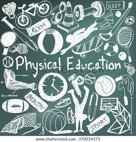 Physical education exercise and gym education chalk handwriting doodle icon of sport tool sign and symbol in blackboard background  used for presentation title with header text, create by vector - stock vector