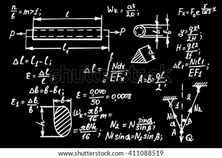 Physical equations on school board. Vector hand-drawn illustration. - stock vector