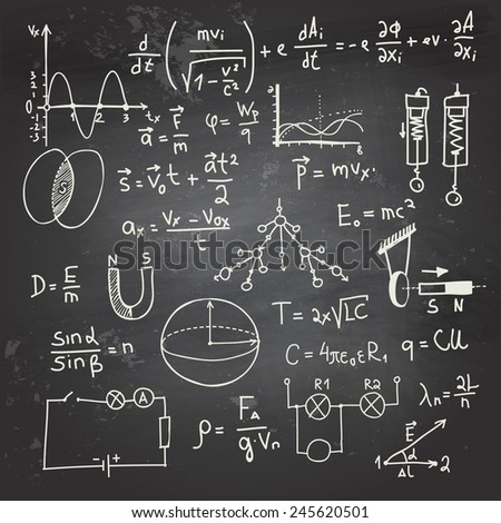 Physical formulas and drawings on a chalkboard - stock vector