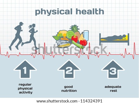 Physical Health infographic: activity, nutrition, rest - stock vector