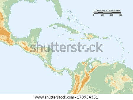 Physical Map Central America Scale Elements Stock Vector 178934351 ...