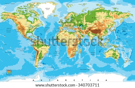 Physical map of the world - stock vector