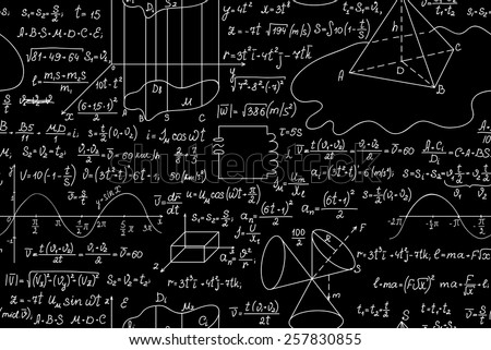 Physical vector seamless pattern with figures, formulas and calculations. You can use any color of background