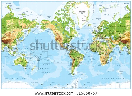 Physical world map america centered bathymetry stock vector physical world map america centered and bathymetry highly detailed vector illustration gumiabroncs Image collections