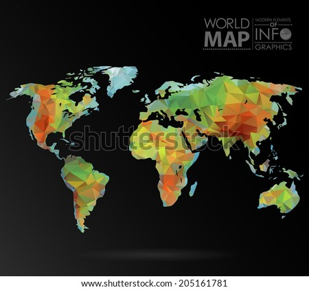 Physical World map background in polygonal style. Modern elements of info graphics. World Map - stock vector