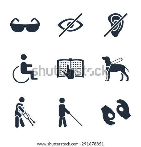 Physically disability related vector icon set - stock vector
