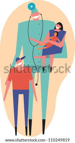 Physician stands by adolescent while holding young girl with doll on his arm - stock vector