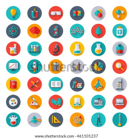 Physics Chemistry And Biology Signs Laboratory Science Equipment Icons Set In Circles