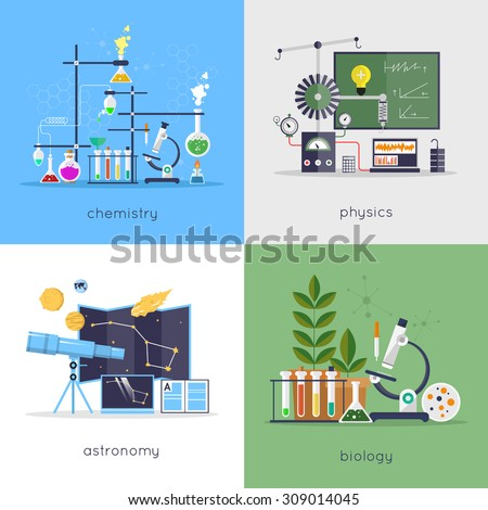 Physics, chemistry, biology, astronomy laboratory workspace and science equipment concept. Flat design vector illustration. - stock vector