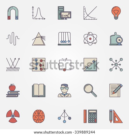 physics flat icons set vector colorful �� ��� 339889244