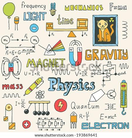 Physics. Hand drawn. Vector illustration. - stock vector