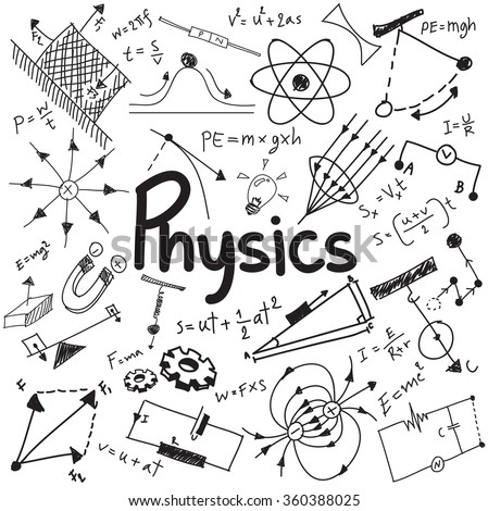 Physics science theory law and mathematical formula equation, doodle handwriting and model icon in white isolated background paper used for school education and document decoration, create by vector - stock vector