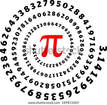 Pi Spiral, Circumference, Mathematics  - stock vector