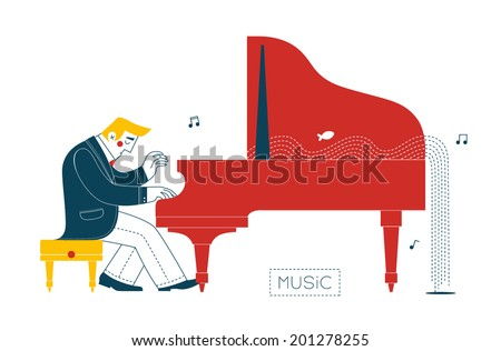 Pianist at the piano - stock vector