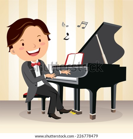 Piano concert. Young pianist playing piano on the stage. - stock vector
