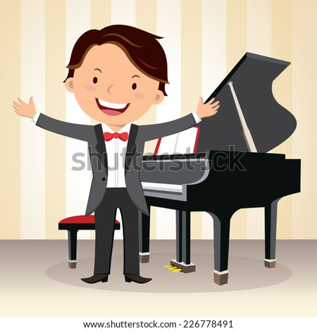 Piano concert. Young pianist standing near piano in suit and gesturing. - stock vector