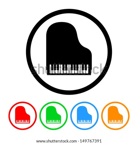 Piano Icon in Vector Format with Color Variations - stock vector
