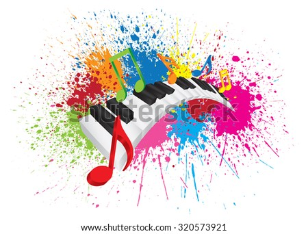 Piano Keyboard with Black and White Wavy Keys and Colorful Music Notes in 3D Paint Splatter Abstract Color Vector Illustration - stock vector