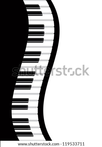 Piano Keyboards Wavy Border Background Vector Illustration - stock vector