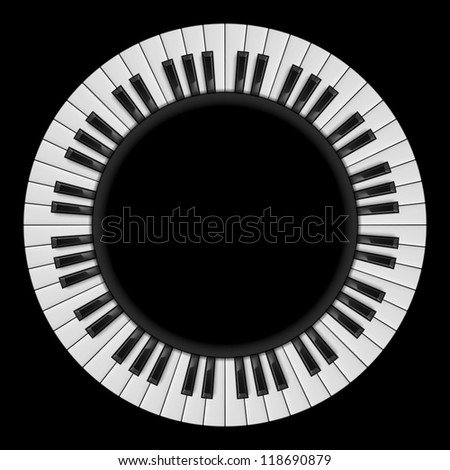Piano keys. Abstract illustration, for creative design on black - stock vector