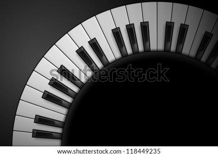 Piano keys on black background. Illustration for design - stock vector