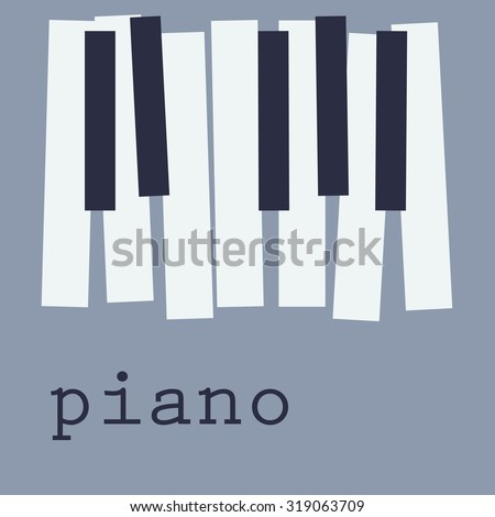 Piano keys on blue background, cd-cover - stock vector