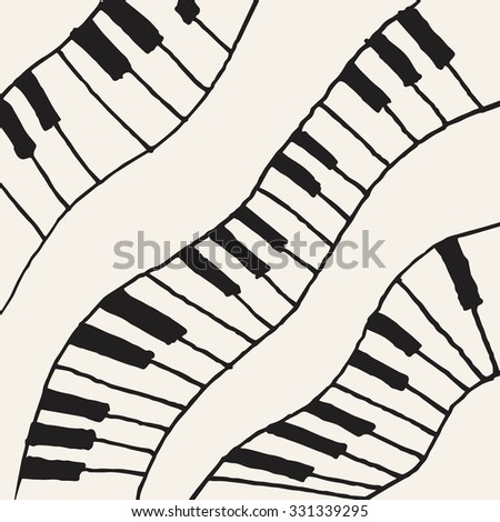Piano keys sketch. Abstract music background. Monochrome design. Vector illustration - stock vector
