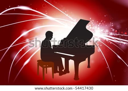 Piano Musician on Abstract Light Background Original Illustration - stock vector