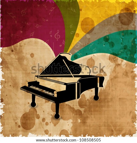Piano on colorful grungy background. EPS 10. - stock vector