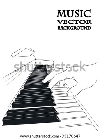Piano play - vector - stock vector