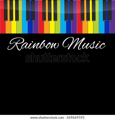 Piano rainbow keyboards vector illustrations. Various angles and views - stock vector