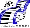 Piano wave with musical sounds for design. Vector illustration - stock vector