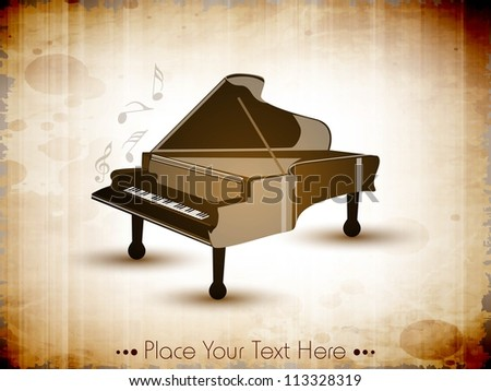 Piano with retro grungy pattern, musical background. EPS 10. - stock vector