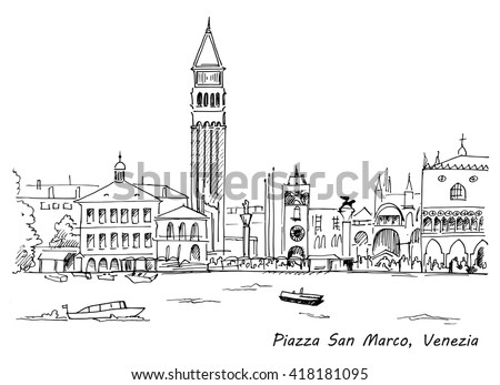 Piazza San Marco with Campanile and Doge Palace sketch hand drawn vector illustration. Venice, Italy - stock vector