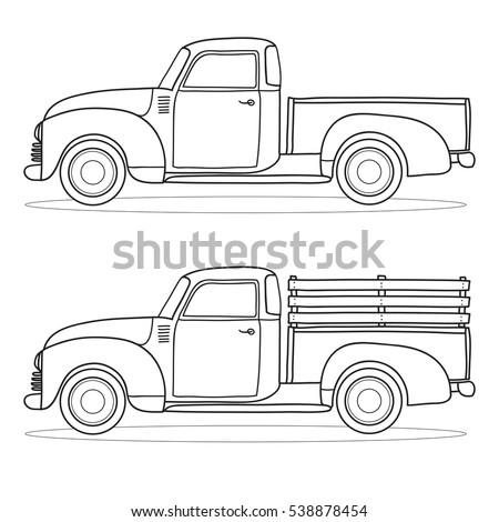 Pickup Truck Vector Outline Doodle Illustration Stock ...