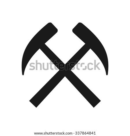 pickaxe logo. minning equiptment logo. pickaxe fireman vector. eps 8. - stock vector