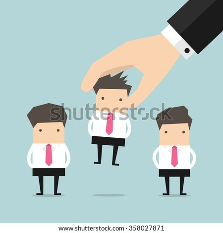 Picking the right candidate businessman professional - stock vector