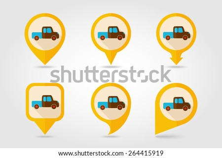 Pickup truck flat mapping pin icon with long shadow - stock vector