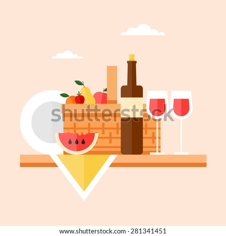 Picnic basket filled with food standing on a wooden table. Summer picnic, barbecue. Isolated vector illustration. Flat design. - stock vector