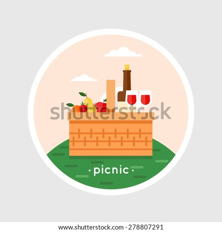 Picnic basket filled with food standing on the grass. Summer picnic, barbecue. Isolated vector illustration. Flat design. - stock vector