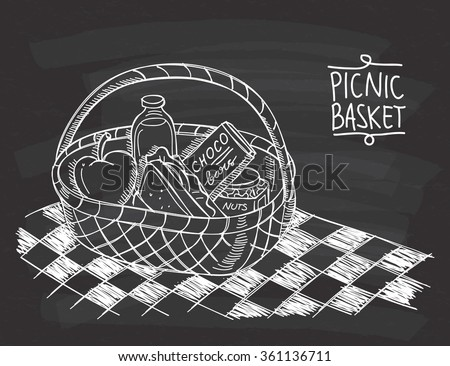 Picnic basket in doodle style on chalkboard background - stock vector