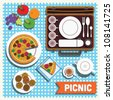 Picnic blanket vector/pizza/fruits/tea/biscuits background design - stock vector