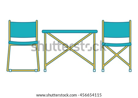 Picnic chairs and table. Vector illustration. Isolated on a white background.