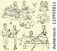 Picnic doodles set, weekend getaway, hand drawn people having a picnic, 60's, 50's - stock photo