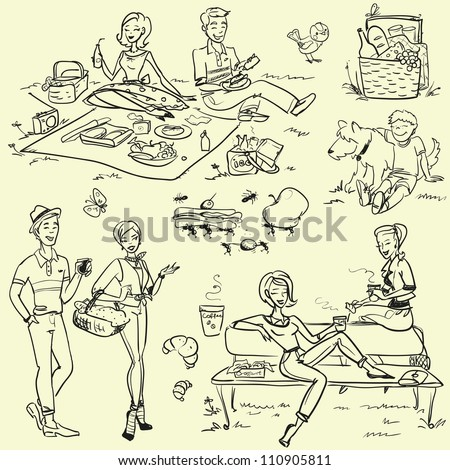 Picnic doodles set, weekend getaway, hand drawn people having a picnic, 60's, 50's - stock vector
