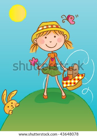 Picnic Girl. Vector illustration of a cute girl looking for a place to picnic. - stock vector