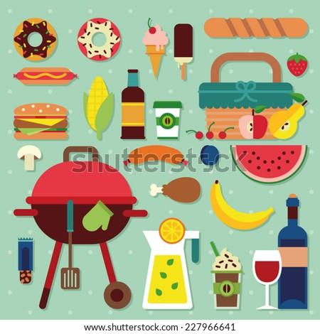 picnic icon set - stock vector