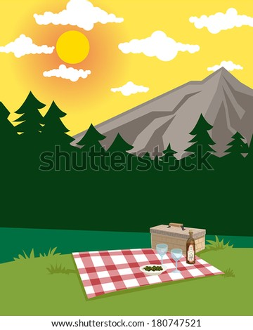 picnic in a beautiful rural mountain landscape with wine glasses and wicker basket, vector illustration - stock vector