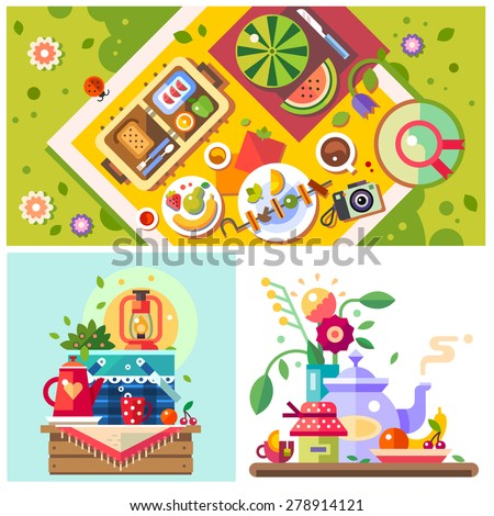 Picnic in the park. Sunny day in the city. Good mood. Breakfast on the nature. Meeting with friends, family holiday. Vector flat illustration - stock vector