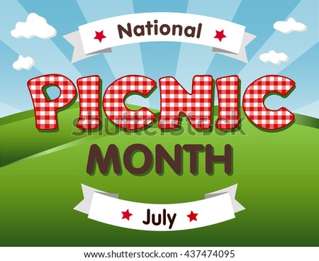 Picnic Month, national USA holiday in July, grassy lawn, red gingham check text, blue sky background. - stock vector
